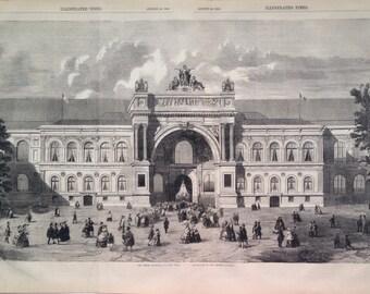 1855 Champs Elysees, Paris exhibition large original antique steel engraving - French Decor - Parisian Decor - France - Architecture
