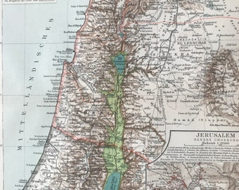 1896 Palestine Original Antique Map with inset map of Jerusalem - Middle East - Available Mounted and Matted - Cartography