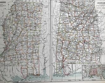 1898 Mississippi and Alabama Large Original Antique A & C Black Map - United States - Victorian Wall Decor - Wedding Gift Idea