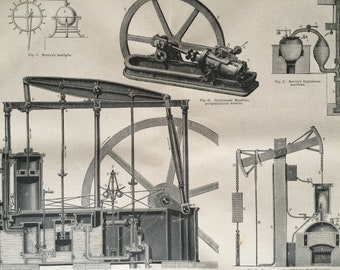1875 Steam Engines Large Original Antique print - Available Mounted and Matted - Machinery - Victorian Technology - Victorian Decor