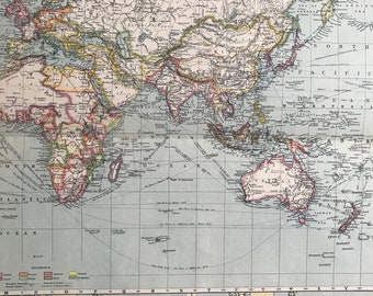 1903 The Old World showing British Possessions and Trade Routes Original Antique Map with inset maps of European Colonisation in 1650