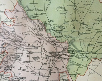 1895 Huntingdon original antique map, english county, cartography, gift idea