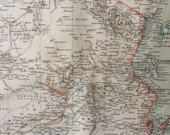 1894 German East Africa Original Antique Map - Burundi, Rwanda, Tanzania - Colonialism - Available Mounted and Matted - Vintage Map