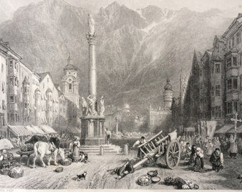 1876 Innsbruck Original Antique Steel Engraving - Austria - Mounted and Matted - Available Framed
