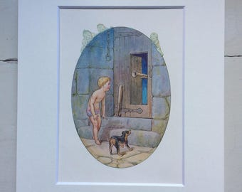1920 Original Vintage Harry Theaker Water Babies Illustration - Matted and Available Framed - Nursery Decor - Children's book