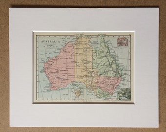1895 Australia Original Antique World Map - Mounted and Matted - 8 x 10 inches - Framed Map - Framed Vintage Art