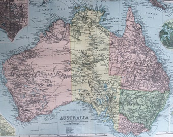 1898 AUSTRALIA large original antique map, 21.5 x 13.5 inches, historical wall decor, George W Bacon map