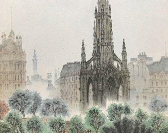 1948 Edinburgh - The Scott Monument Original Vintage Chiang Yee Illustration - Scotland - Mounted and matted - Available Framed