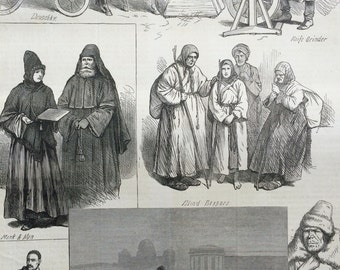 1877 St Petersburg Sketches antique print from engraving, Illustrated London News, 19th Century History, Victorian Art, Wall Decor, Russia