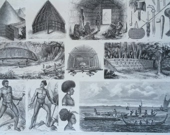 1870 Pacific Islanders Large Original Antique Engraved Illustration - Ethnography - Anthropology - New Caledonia - Solomon Islands