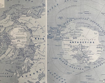 1931 Polar Regions Original Antique Map - Arctic - Antarctica - Mounted and Matted - Available Framed