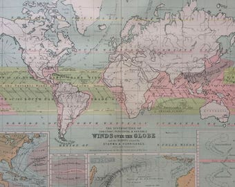 1873 Original Antique World Map showing the distribution of constant, periodical and variable winds over the globe and storms and hurricanes