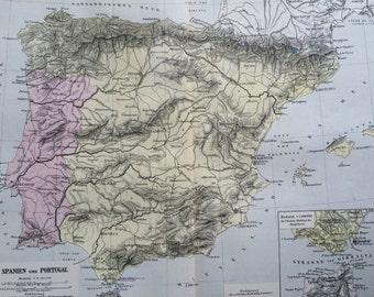 1880 Spain & Portugal original antique map, cartography, geography, wall decor, home decor, Iberian Peninsula