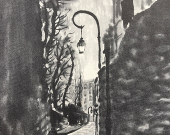 1956 Paris - Rue Berton at Night Original Vintage Chiang Yee Illustration - Mounted and matted - Available Framed