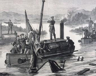 1877 Russo-Turkish War Scene Original Antique Engraving, Illustrated London News, 19th Century History, Victorian Art, Wall Decor