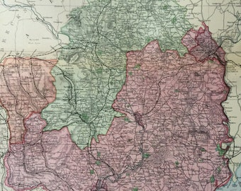 1896 Monmouthshire and the River Wye Large Original Antique Map showing railways, stations, canals, crossroads - UK County - Wall Map