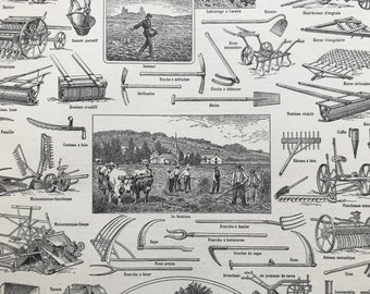 1928 Agriculture Original Antique Print - Agricultural Equipment - Plough - Gift for Farmer - Mounted and Matted - Available Framed