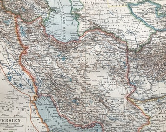 1896 Persia Original Antique Map - Available Mounted and Matted - Cartography - Vintage Iran Map - Wall Decor