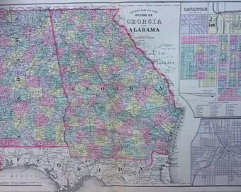 1888 GEORGIA & ALABAMA large rare original antique Mitchell Map with inset maps of Savannah and Atlanta - Wall Decor - Home Decor