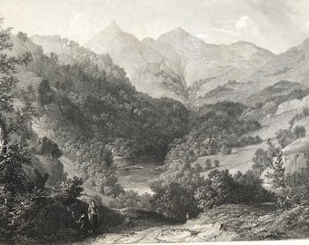 1884 Scene on the Tummel Original Antique Matted Engraving - Tummel River - Scotland - Landscape - Available Framed