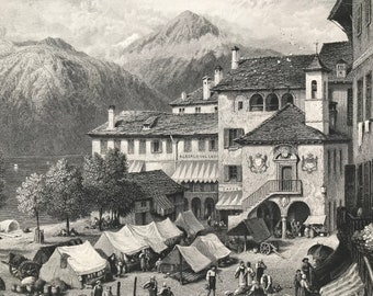 1876 Orta Original Antique Steel Engraving - Mounted and Matted - Lake Orta - Orta San Giulio - Italy - Decorative Art - Available Framed
