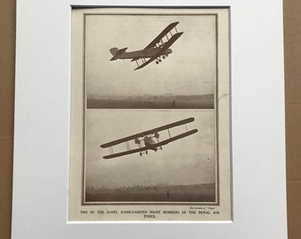1927 Giant Dark-Painted Night Bombers of the RAF Original Vintage Print - Aircraft - Airplane - Mounted and Matted - Available Framed