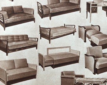 1959 Furniture Original Vintage Print - Mounted and Matted - Retro Wall Art - Interior Design - Sofa Bed - Available Framed