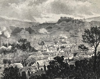 1883 Lewes Original Antique Print - Sussex - Mounted and Matted - Available Framed