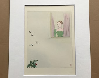 1948 Edinburgh - Queen Mary gazing at the Swallows Original Vintage Chiang Yee Illustration - Mounted and matted - Available Framed