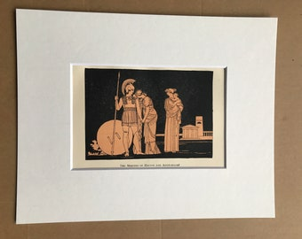 1891 The Meeting of Hector and Andromache Original Antique Print - Ancient Greece - Classics - Mounted and Matted - Available Framed