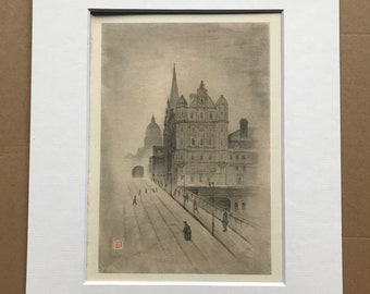 1948 Edinburgh - Old University and 'Scotsman' Building Original Vintage Chiang Yee Illustration - Mounted and matted - Available Framed