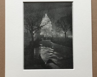 1940s The Capitol, Washington DC Original Vintage Print - United States - Architecture - Mounted and Matted - Available Framed