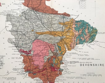 1913 Devonshire Original Antique Small Geological Map - Devon - UK County Map - Geology - Available Framed