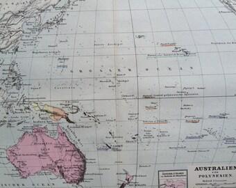 1880 OCEANIA original antique map, cartography, geography, wall decor, home decor - Australia - Pacific Islands