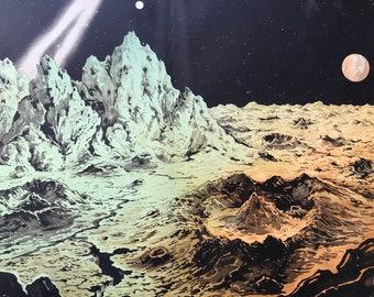 1882 Large Original Antique Lithograph - Lunar Landscape - Moon - Lunar Crater - Astronomy - Astrology - Victorian Wall Decor