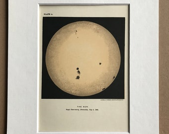 1913 The Sun - Royal Observatory Greenwich 1892 Original Antique Print - Astronomy - Celestial Art - Mounted and Matted - Available Framed