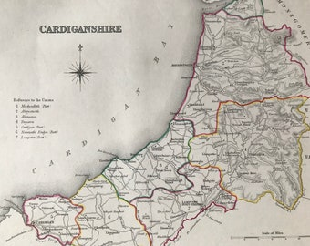 1845 Cardiganshire Original Antique Hand-Coloured Engraved Map - UK County Map - Available Framed - Wales