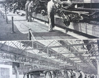 1940s Mass Production in making Motor Cars Original Vintage Print - Mounted and Matted - Ford Factory in Dagenham - Available Framed