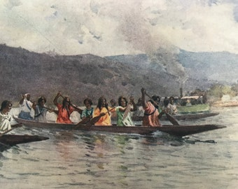 1908 Wahine's Canoe Race on the Waikato Original Antique Print - Mounted and Matted - Available Framed - New Zealand
