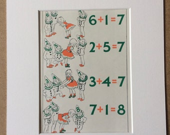 1940s Mathematics for Children Original Vintage Print - Mounted and Matted - Nursery Decor - Children Room Decor  - Available Framed
