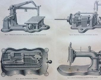 1877 Sewing Machines Large Original Antique print - Available Mounted and Matted - Haberdashery - Victorian Technology - Victorian Decor