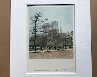 1956 Paris - Secondhand Booksellers - Quays of the Seine Original Vintage Chiang Yee Illustration - Mounted and matted - Available Framed
