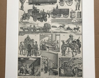 1897 Post System Original Antique Print - Postal System - Postman Gift - Mounted and Matted - Available Framed