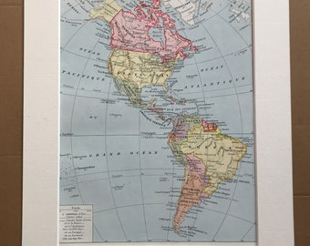1928 Americas Original Antique Map - North America - South America - Mounted and Matted - Available Framed