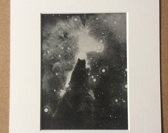 1940s Cone Nebula in the Constellation Monocerus Original Vintage Photo Print - Mounted and Matted - Astronomy - Available Framed