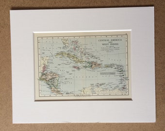 1895 Central America and West Indies Original Antique World Map - Mounted and Matted - 8 x 10 inches - Framed Map - Framed Vintage Art