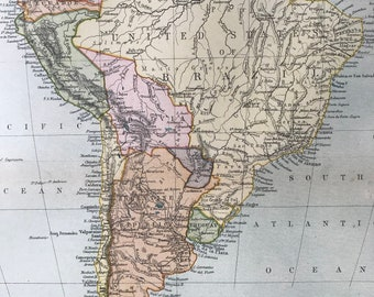 1904 South America Original Antique Map - Available Mounted and Matted - Vintage Wall Map