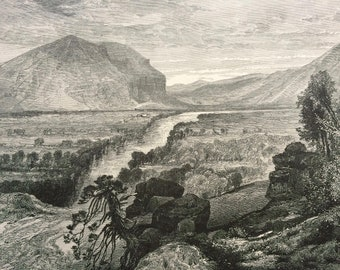 1874 Weber River - Entrance to Echo Canyon, Utah Original Antique Wood Engraving - Mounted and Matted - Landscape - United States