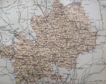 1875 Hertfordshire Original Antique Map - England - UK County - Vintage Decor - Hertford - Available Framed