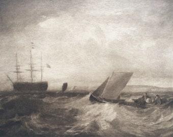 1902 Sheerness by Turner Original Antique Matted Photogravure - Fine Art Landscape - William Turner - Sepia